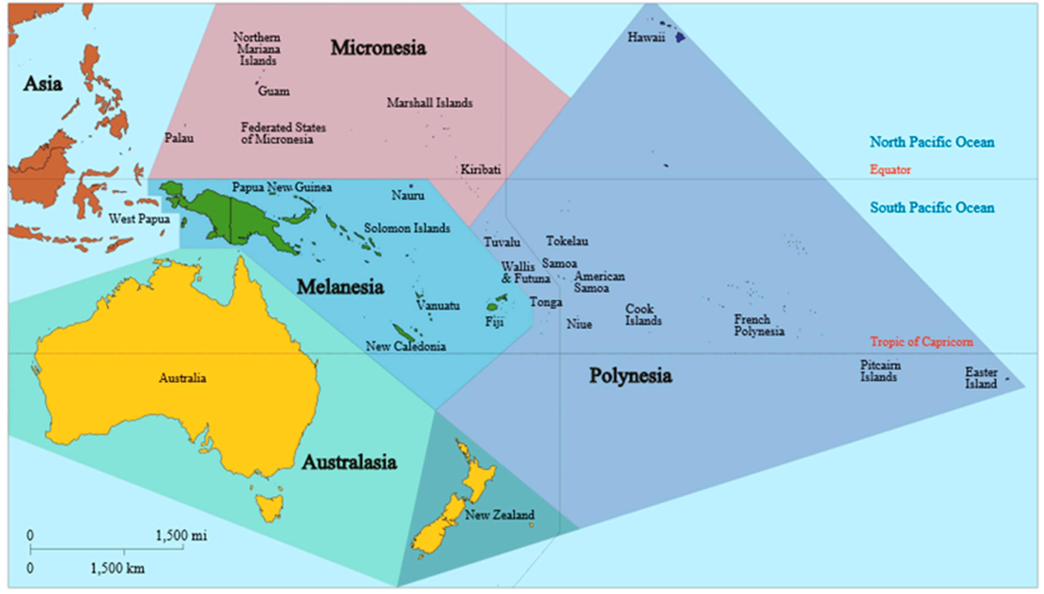 Oceania map with Micronesia, Polynesia, Melanesia, and Australasia ...