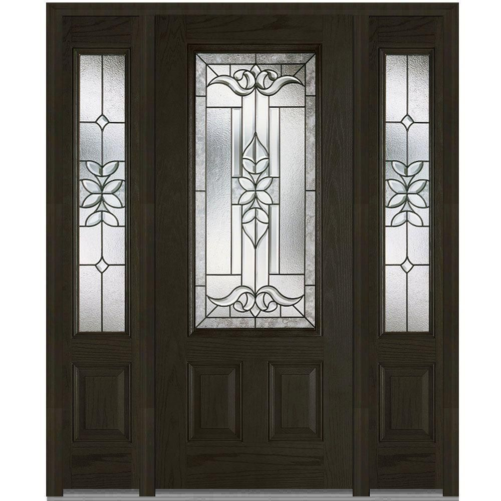 Milliken Millwork 60 In X 80 In Cadence Decorative Glass 3 4 Lite Finished Oak Fiberglass Prehu Decorative Door Glass Steel Doors Exterior Oak Exterior Doors