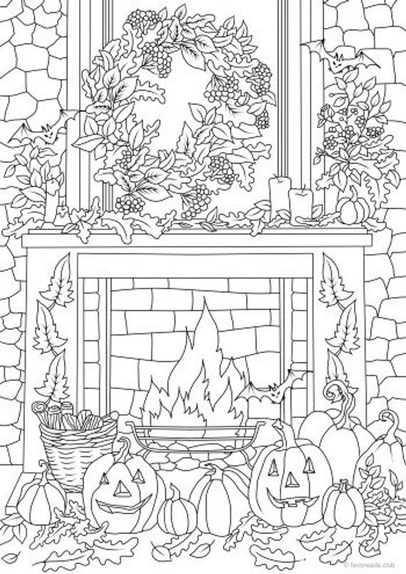 Halloween Decor - Printable Adult Coloring Page from Favoreads (Coloring book pages for adults and kids, Coloring sheets, Coloring designs)