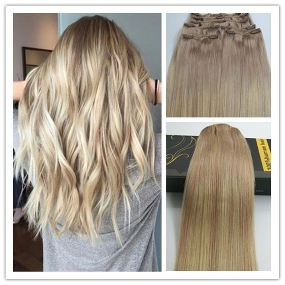 6a Balayage Blonde Remy Ombre Thick Clip In Human Hair Extensions