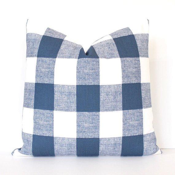Navy Decorative Pillow Cover Farmhouse