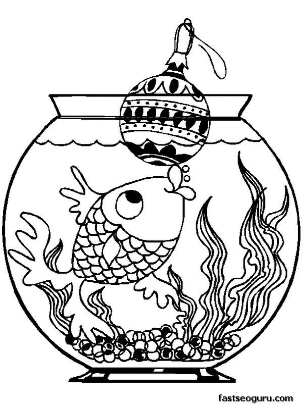Printable Fish With Christmas Decorations Coloring Pages Coloring