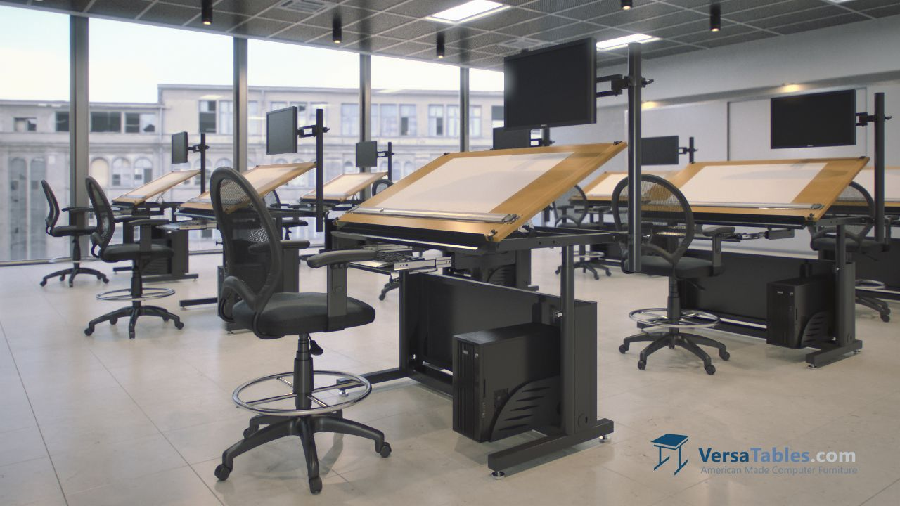 Edison Electric Lift Drafting Table ELEDT Series By Versa Tables - Electric drafting table
