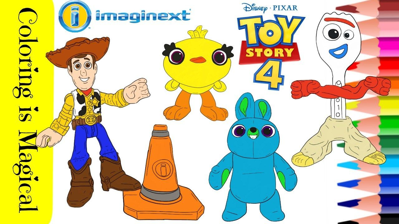 Coloring 4 Characters From Toy Story 4 Toy Story Coloring Pages Toy Story Toy Story Movie