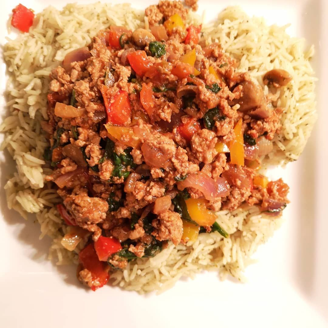 Tonights dinner was Turkey mince ( which Im loving at the moment ) seasoned with pepper, mixed Itali...
