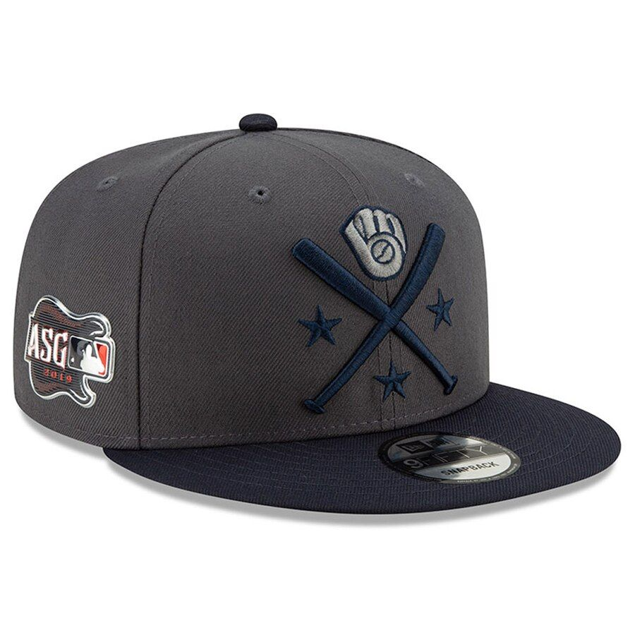 100% top quality 2018 shoes best wholesaler Men's Milwaukee Brewers New Era Graphite/Navy 2019 MLB All-Star ...