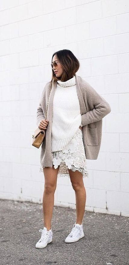 Greige Is the New Neutral Trend You're About to Obsess Over - Street Style.  White TurtleneckChanel ...