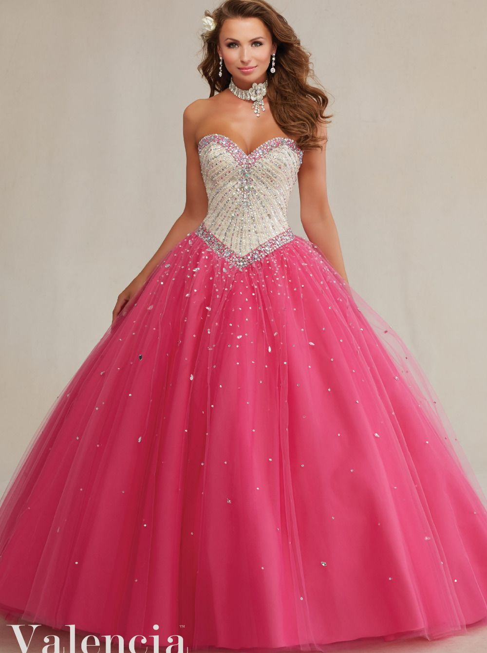 Elegant Ruffle Tulle Ball Gown Nude Top Hot Pink Two Tones ...