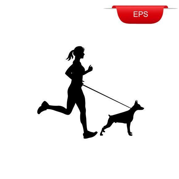 Running Girl With Her Dog Icon Dog Icon She Dog Girl Running