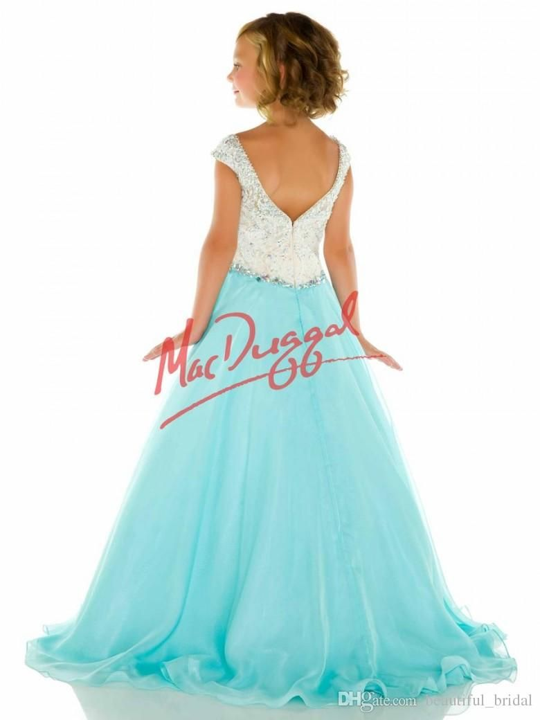 Custom Elegant Pageant Dresses for Girls Bateau Crystals Beads Kids ...