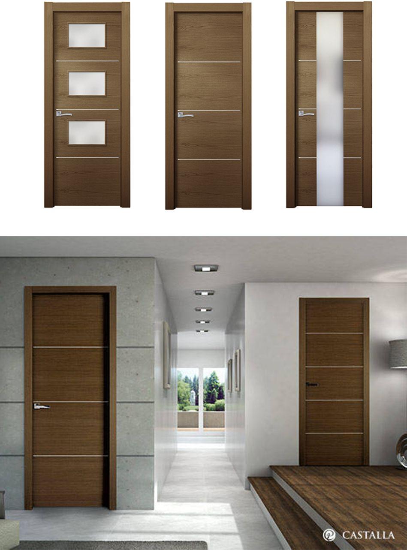Puerta viura madera oscura puertas de interior for Puertas de madera interiores modernas