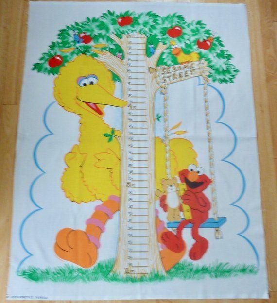 Vintage Sesame Street Growth Chart Cotton Fabric Panel Big Bird