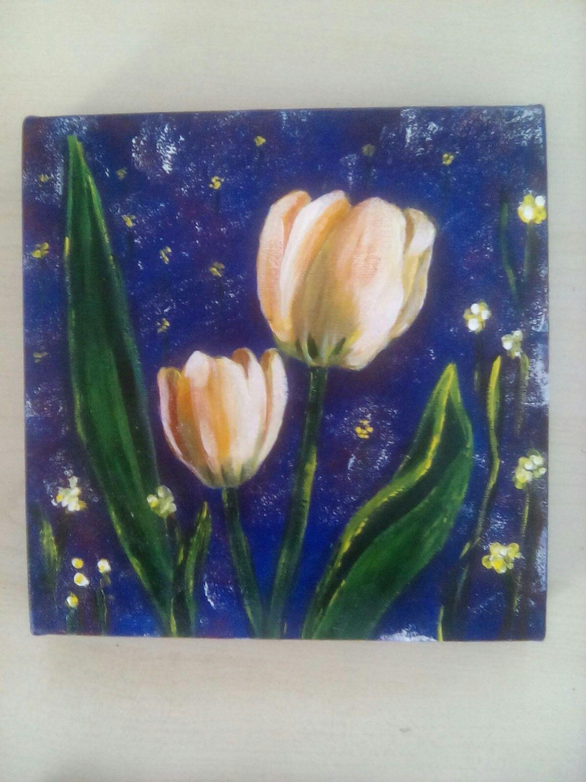Tuval Akrilik 20x20 Lale Art Resim Paint Akrilik Tuval Akrilik Tuval Resim Laleler