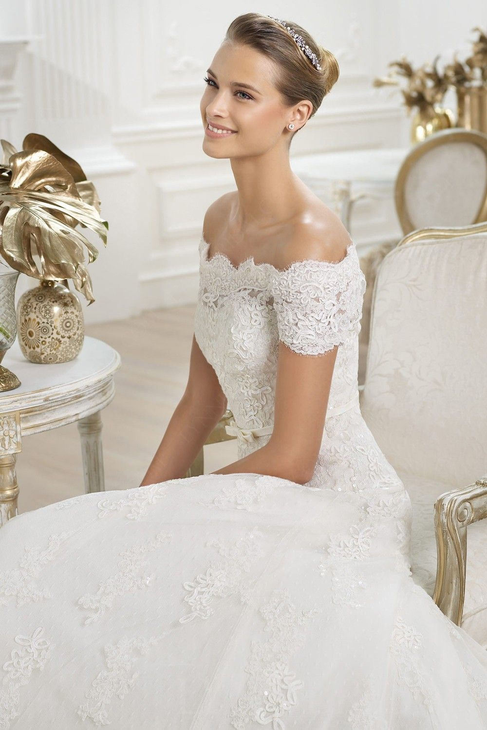 Princess off the shoulder short sleeves chapel train tulle lace