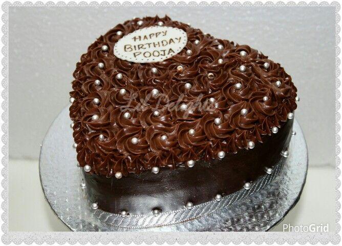 A Heart Shaped Rosette Chocolate Truffle Cake Heart Shaped Cakes