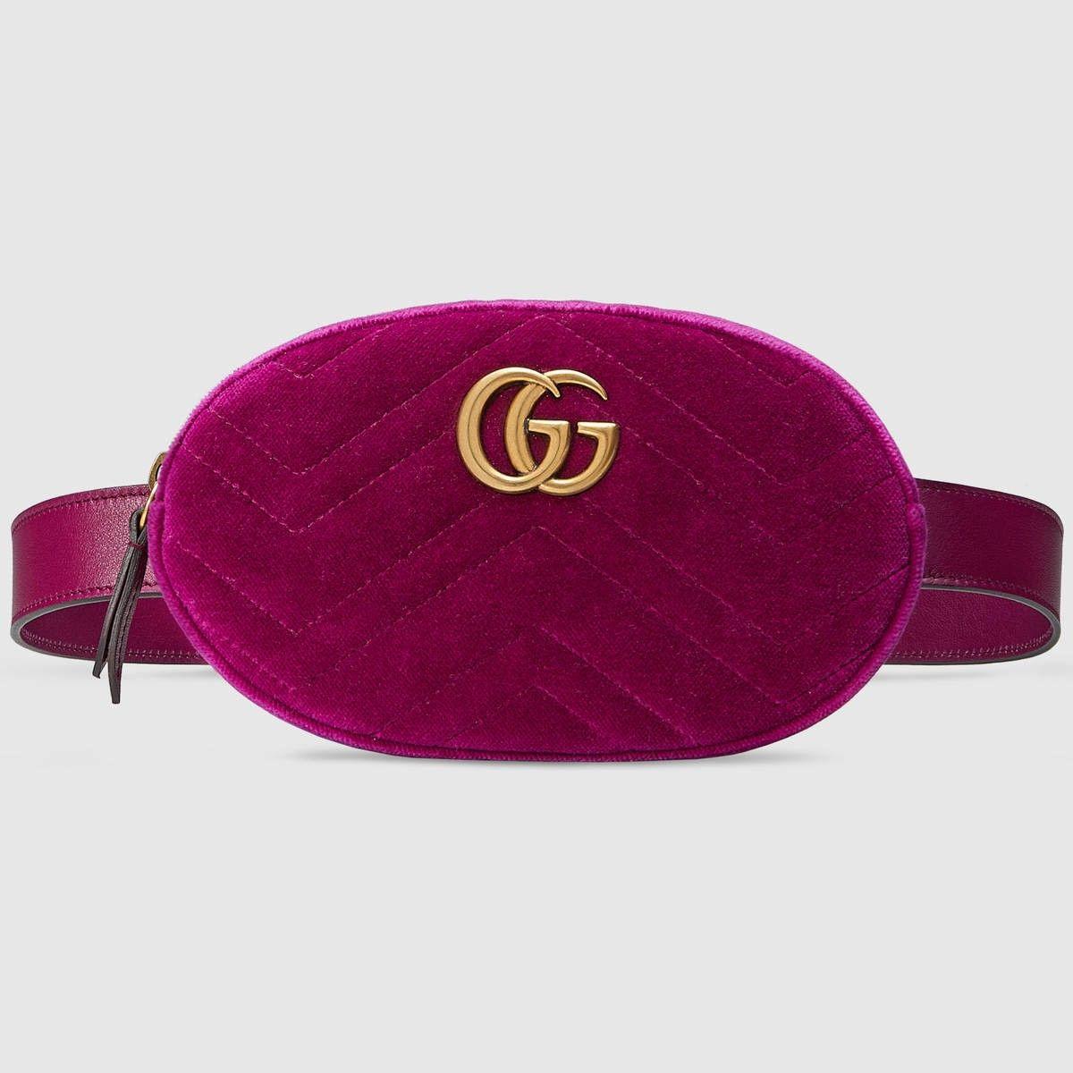 45c1ae48427d GUCCI GG Marmont matelassé velvet belt bag - fuchsia velvet. #gucci #bags  #leather #belt bags #silk #velvet #lining #