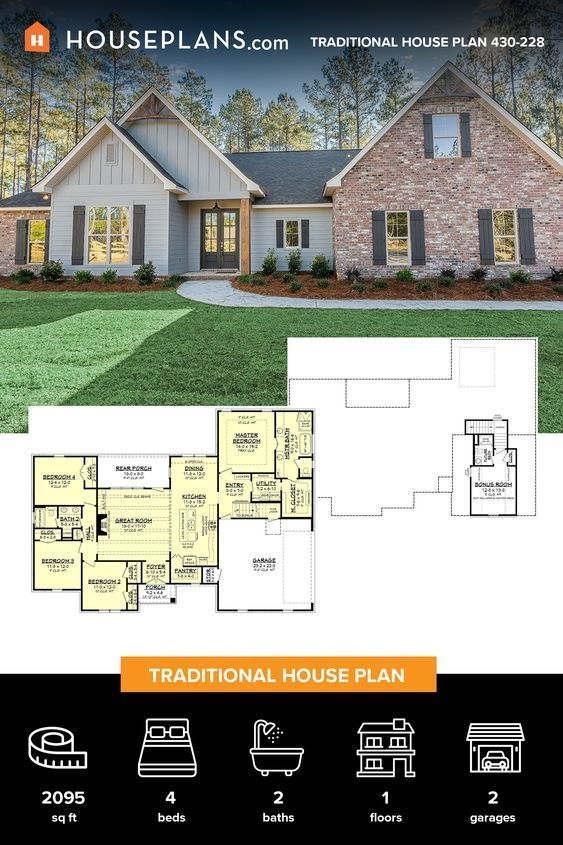 Traditional Style House Plan 4 Beds 2 Baths 2095 Sq Ft Plan 430 228 House Blueprints New House Plans Modern House Plans Modern traditional house plan