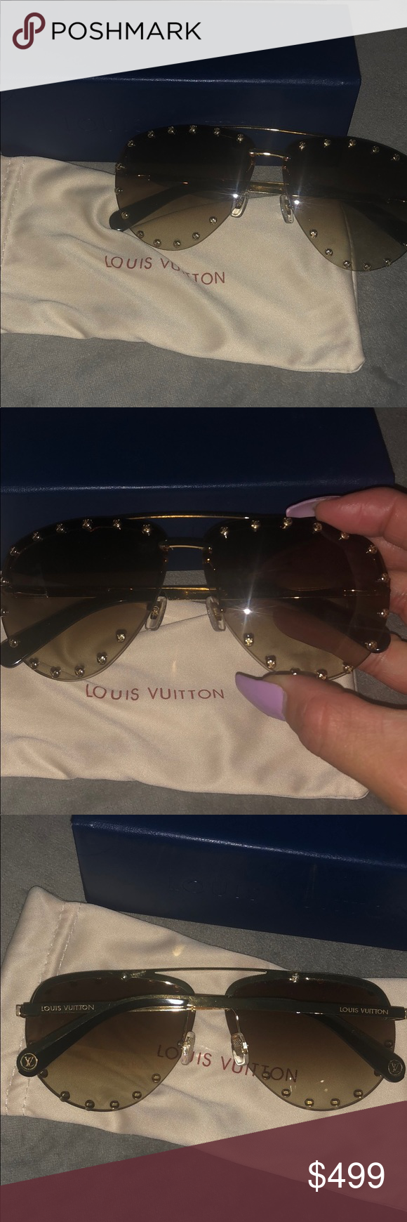 b294a76ba6 Like brand new LOUIS VUITTON STUDDED SUNGLASSES 💯 No Visible scratches  comes with hard case and cloth case. Gold and brown frames. Super cute.
