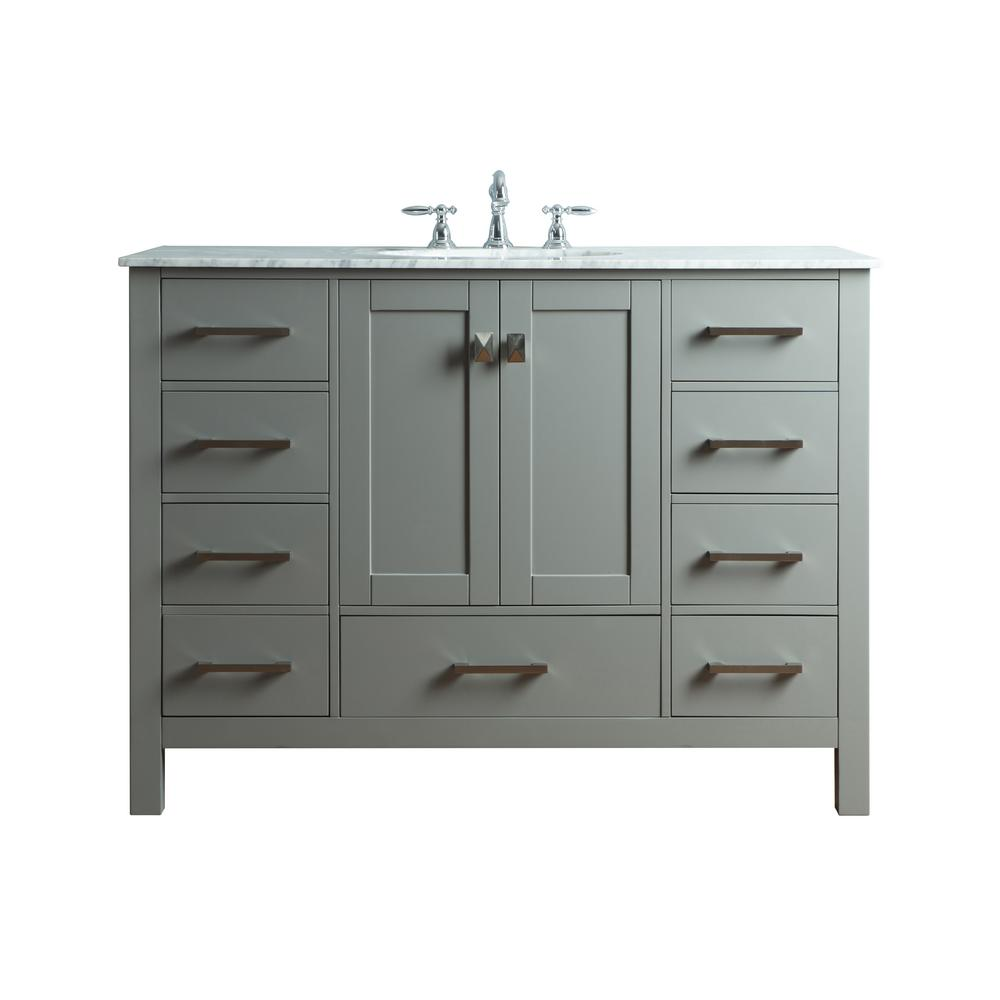 Stufurhome Malibu 48 In Vanity In Gray With Marble Vanity Top In