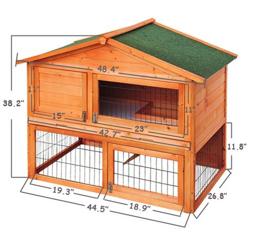 Wooden rabbits house chicken hen coop bunny hutch poultry for Wooden rabbit hutch plans