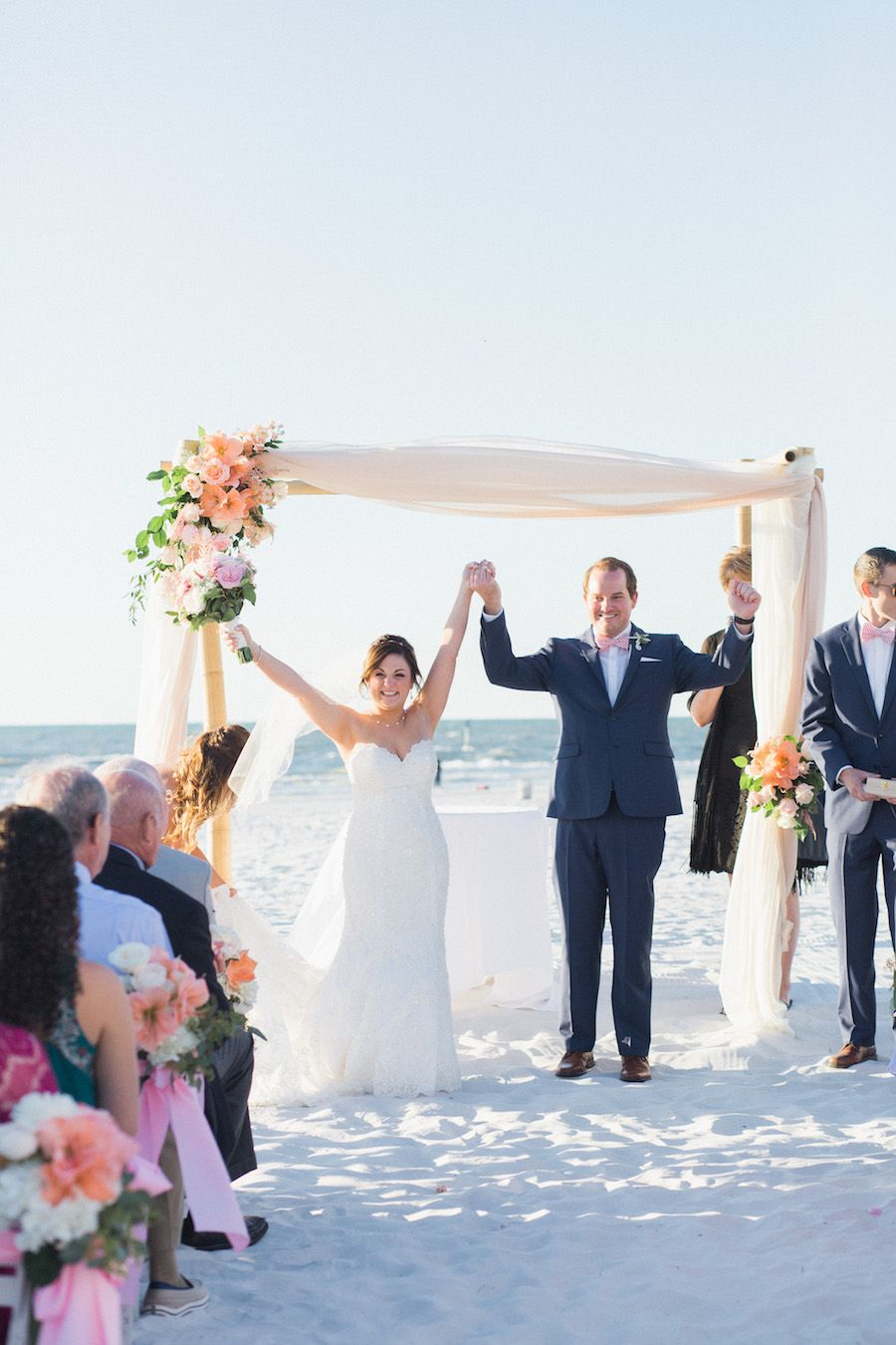 Blush gold destination clearwater beach wedding