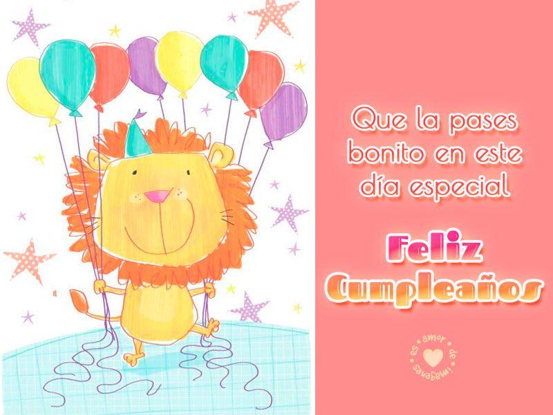 Tarjeta de feliz cumpleaños con león Feliz cumpleaños