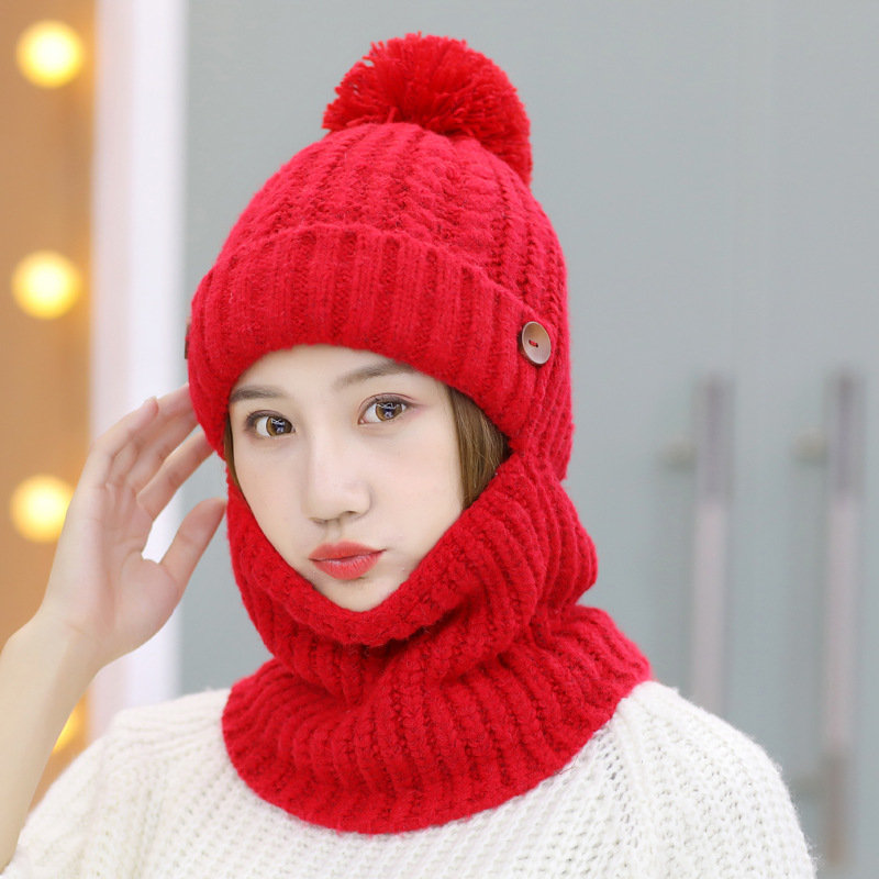 Women Warm Knit Hat Winter Outdoor Cycling Hat Scarf One Plus Velvet Thickening Earmuffs Hat in 2020 | Knitted hats, Warm knits, Cycling hat