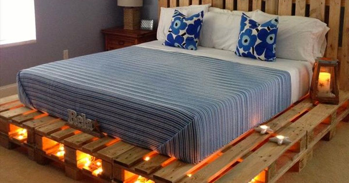 Why Buy A Bed When You Can Use Pallets To Make One Here Are 14 Fantastic Ideas Pallet Furniture Bedroom Pallet Bed With Lights Diy Pallet Furniture