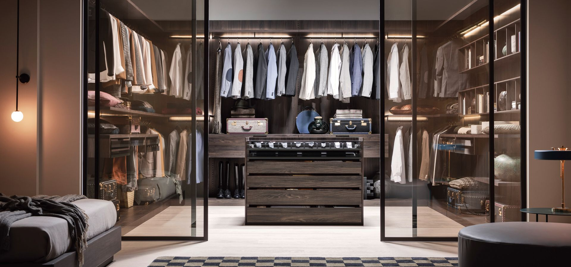 Modern Walk in wardrobe in dark elm
