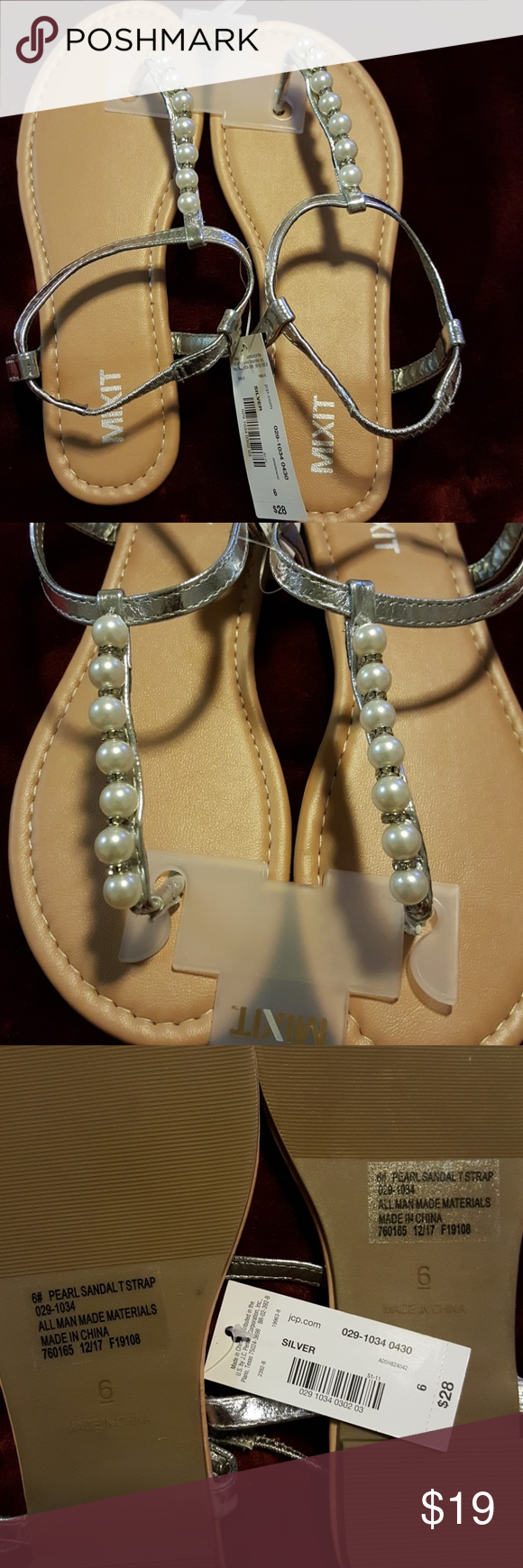 45611d97e91ac Mixit Silver sandals Silver sandals with gorgeous pearl strap with  rhinestones.