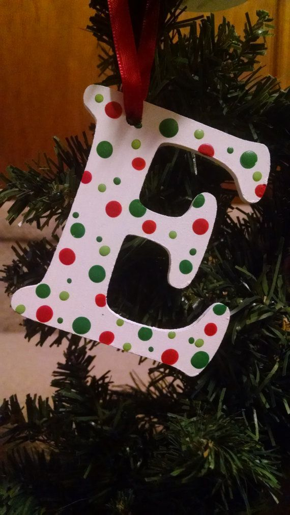 personalized wooden monogram christmas ornaments letters e and f limited quanities