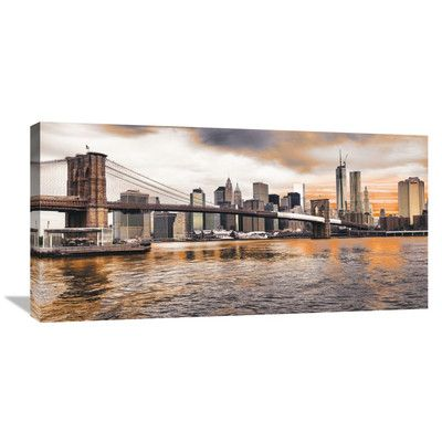 Global Gallery Brooklyn Bridge and Lower Manhattan at Sunset, New York City Wall Art on Wrapped Canvas Size: 1