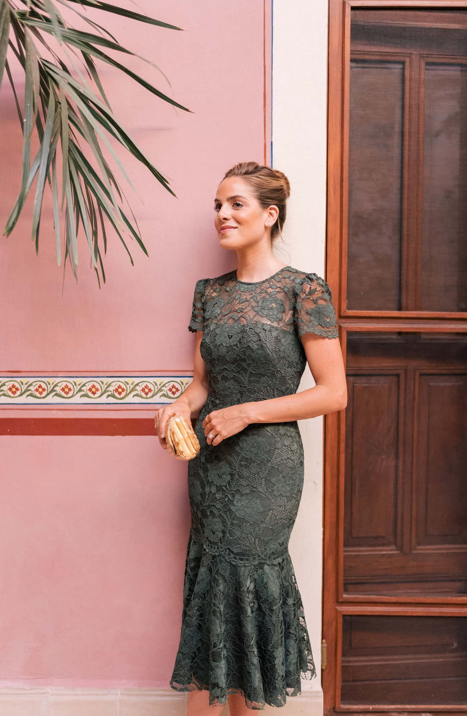 Nordstrom dresses wedding guest  Gal Meets Glam Collection Eve Lace Midi Dress in Forest Green