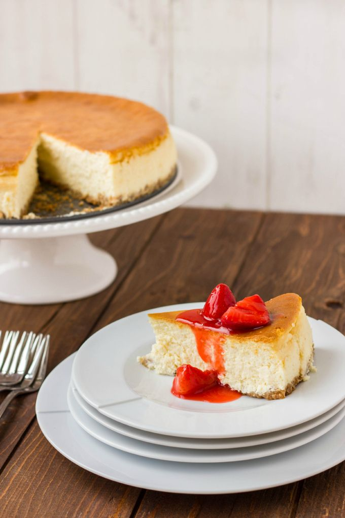 New York Style Cheesecake with Strawberry Topping!