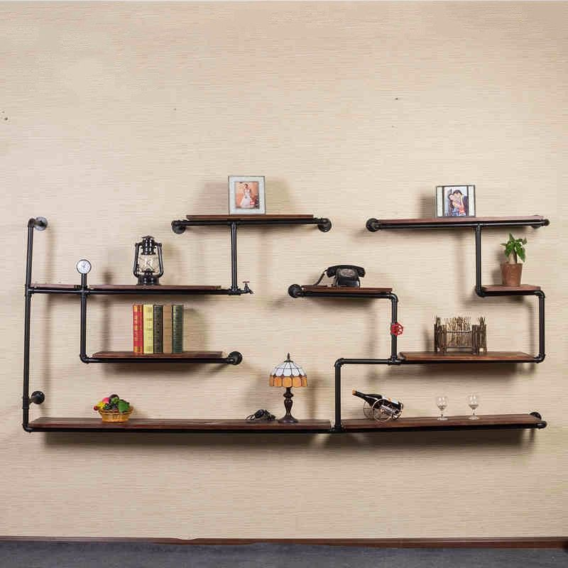 DIY metal pipe and wood bookcase with 1/2\