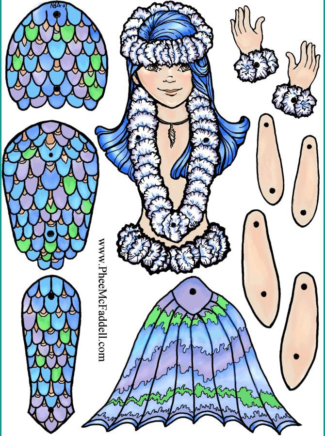 Mermaid Jointed Paper Doll Paper Dolls Paper Dolls