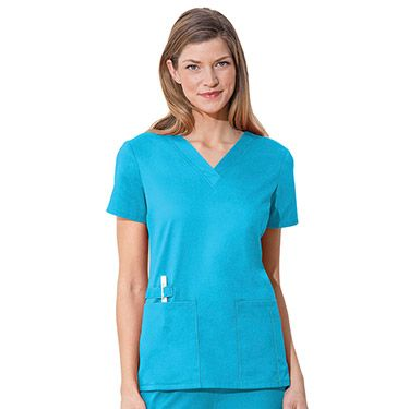 Organizing tools is easy with the WW Flex by Cherokee Workwear with CERTAINTY® Antimicrobial Fabric Technology V-Neck Solid Scrub Top. Extra pockets add convenience while antimicrobial fabric offers piece of mind.