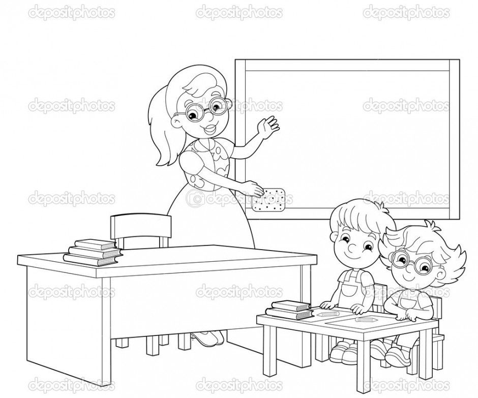 colouring picture of classroom