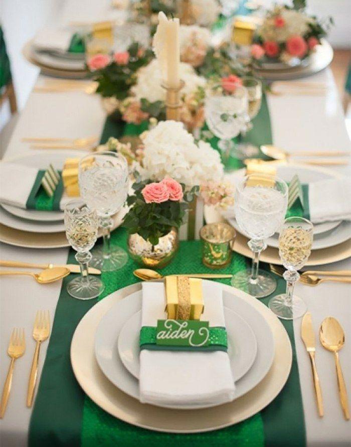 Tischdeko winter grün  Luxuriöse Tischdekoration in Grün und Gold | Asztal dekoráció ...