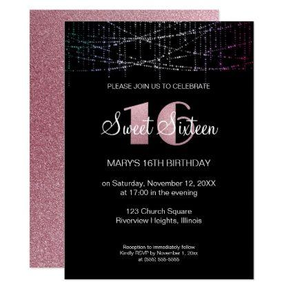 Glitter sweet 16 birthday invitation glitter sweet 16 birthday invitation birthday cards invitations party diy personalize customize celebration stopboris Images