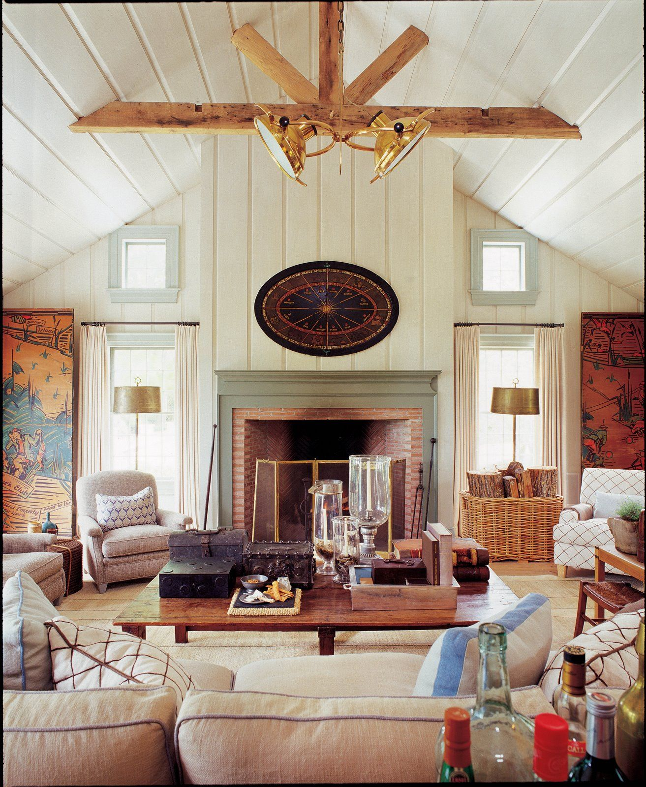 Warm And Cozy Dining Room Moodboard: Layout, Comfy And Inviting Around Brick Fireplace With