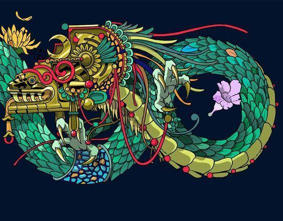 Poemas Para El Regreso De Quetzalcoatl In 2019 Dragons Aztec Art