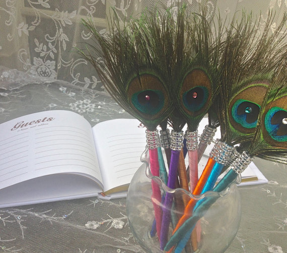 25 Peacock Feather Favor Pens with BLING in your by Ivyndell