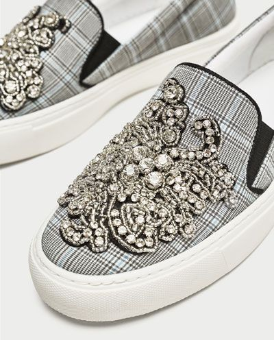 Tekstylne Buty Sportowe Z Bizuteryjnym Zdobieniem Buty Kobieta Zara Polska Zara Sneakers Zara Shoes Zara