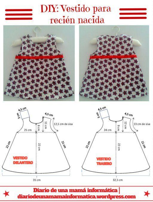 DIY Vestido recien nacida | Costura - Moldes | Baby Dress, Baby y ...