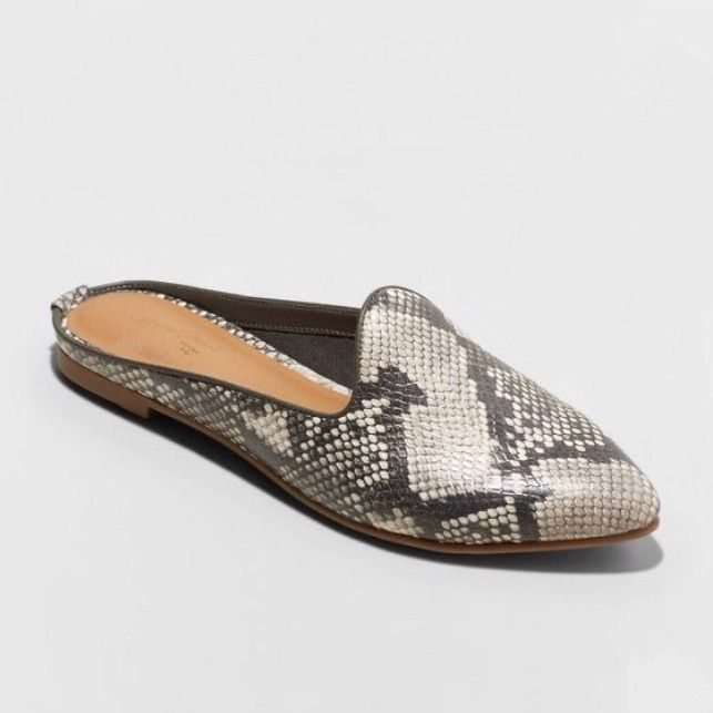 Universal Thread Shoes | Faux Leather Snake Printed Mules, Nwt | Color: Gray/Tan | Size: 7