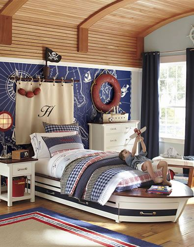 pirate bedroom. The excitement of pirate ships and high sea adventures inspired this room  centerpiece
