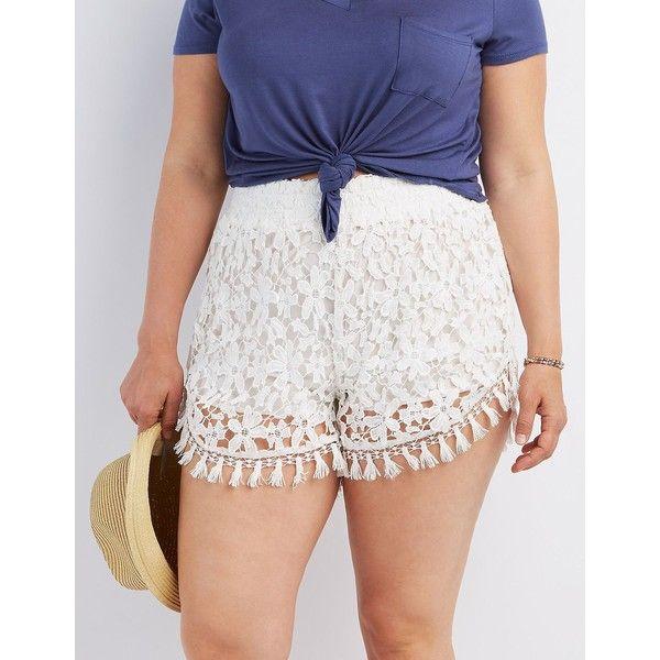 d81bb33e4d6 Charlotte Russe Tassel Hem Crochet Shorts ( 27) ❤ liked on Polyvore  featuring plus size women s fashion