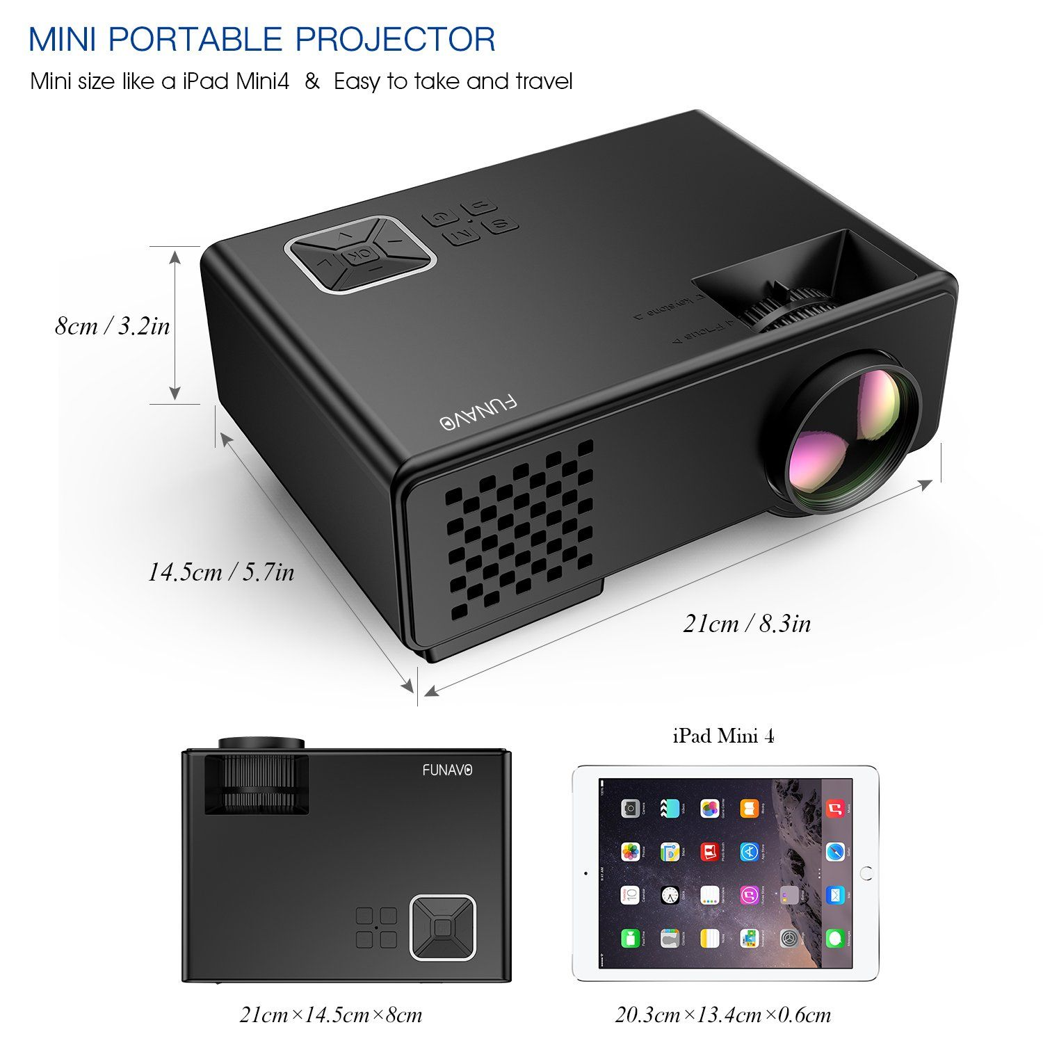 b0b89c77278778 Projector FUNAVO 1500 Lumens LED Portable Mini Projector Multimedia Home  Theater Video Projectors Support 1080P Laptop