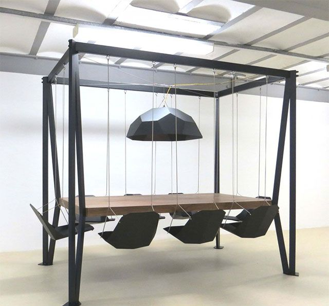 dining table with swing chairs